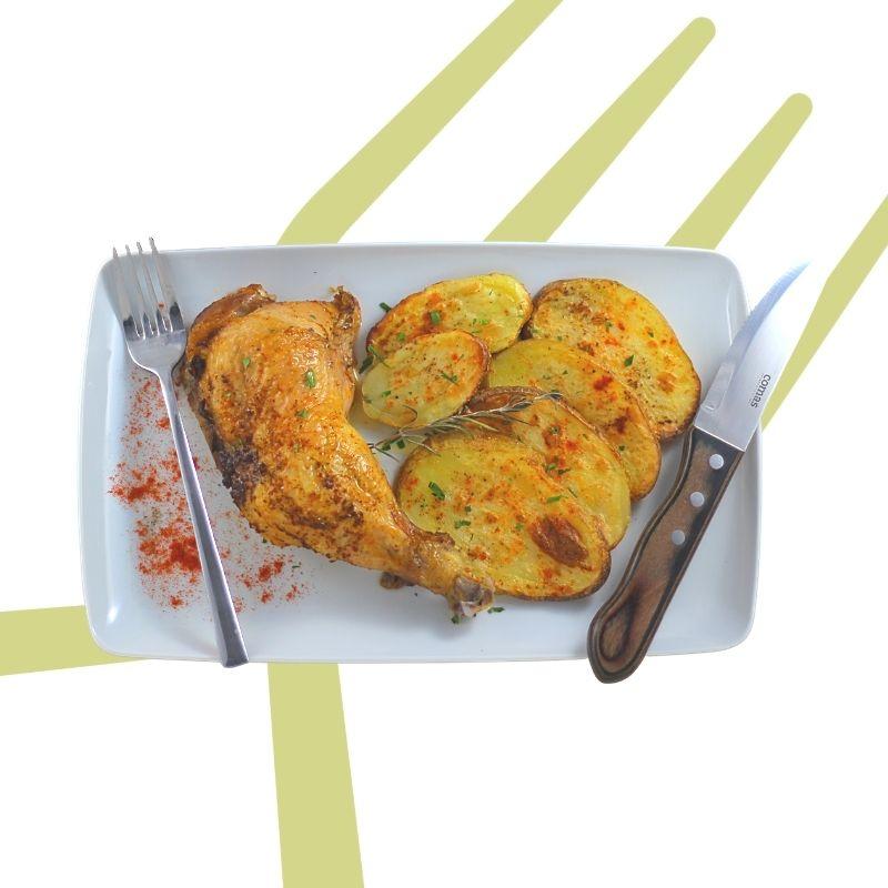 Viernes muslo de pollo en rostidera